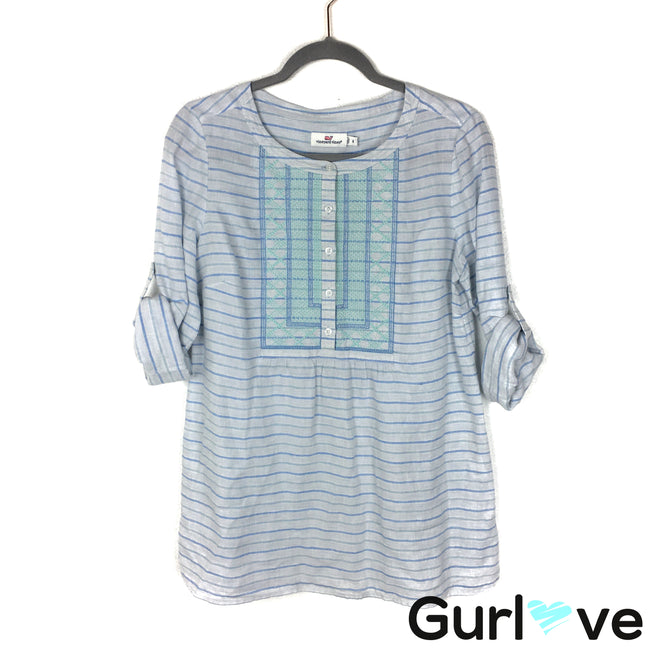 Vineyard Vines Size 8 Blue Striped Embroider Half Button Linen Tunic Top