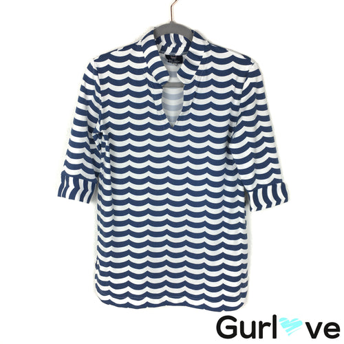 Sailor-Sailor Size S Blue Striped 3/4 Sleeve Stretch Top