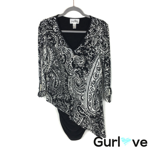 Joseph Ribkoff Size 12 Black White Paisley Printed Sequins Tunic Top