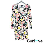 French Connection Floral Faux Wrap Long Sleeve Dress Size 4
