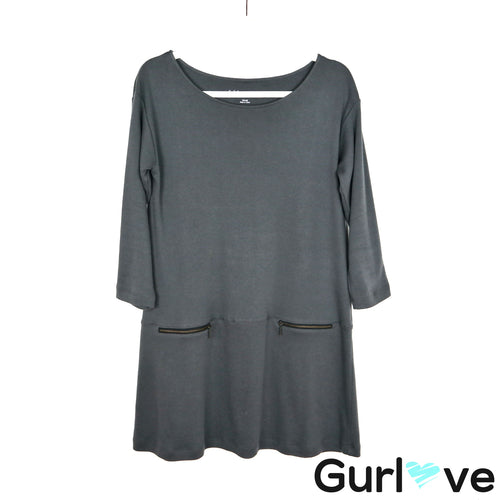 Soft Surroundings Gray 3/4 Sleeve Round Neck Dress Size XS