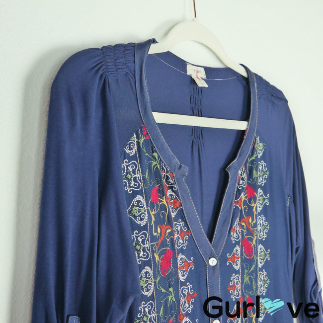 TINY Anthropologie Blue Embroider Button Dress Size L