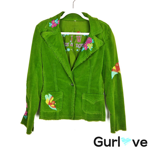 Johnny Was Green Corduroy Embroider One Button Jacket Size M
