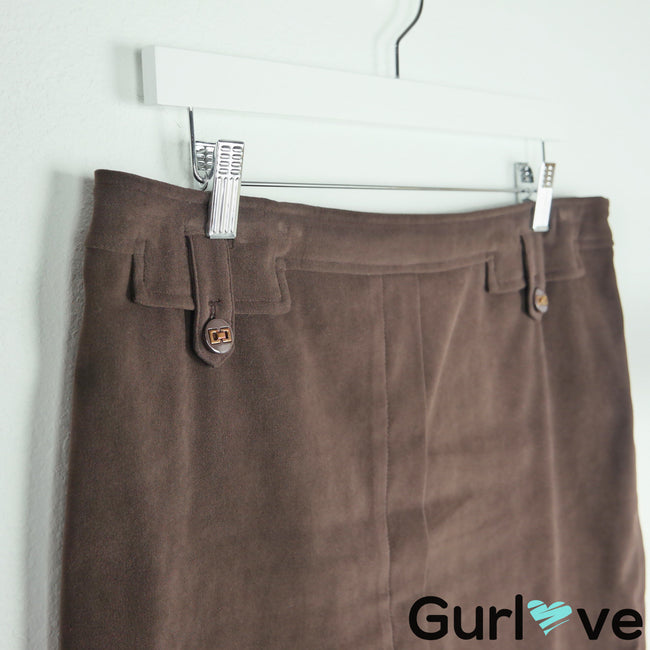 J. McLaughlin Brown Button Lined Pencil Skirt Size 12
