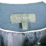 Talbots Navy Blue White Tweed One Clip Blazer Size 4