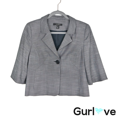 Louben Petite Gray One Button Jacket Size 8P