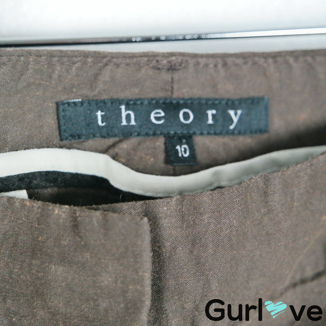 Theory 10 Brown Linen Pants