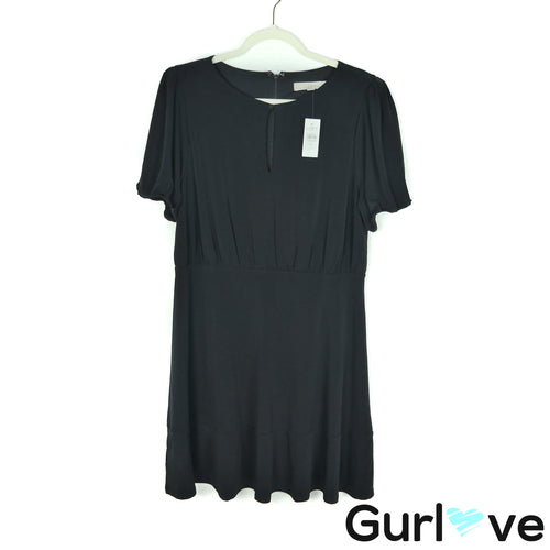 NWT LOFT Size 10 Black Short Sleeve Dress