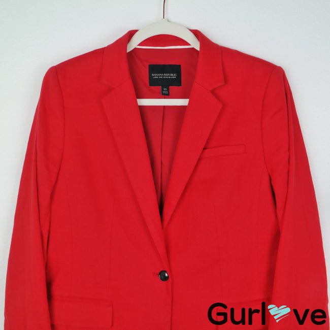 Banana Republic Size 10 Red Long & Lean One Button Blazer
