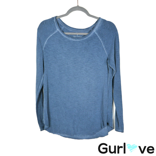 Soft & Sexy Slub Blue Size S Long Sleeve Top