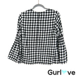 Beachlunchlounge Size XS Black White Gingham Bell Sleeve Top