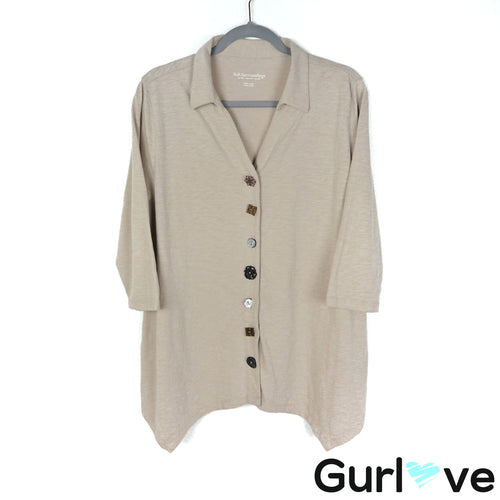 Soft Surroundings Size PL Cream Button Top