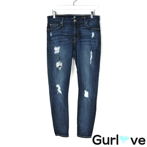 7FAMK Size 28 Blue The Ankle Skinny Distressed Jeans