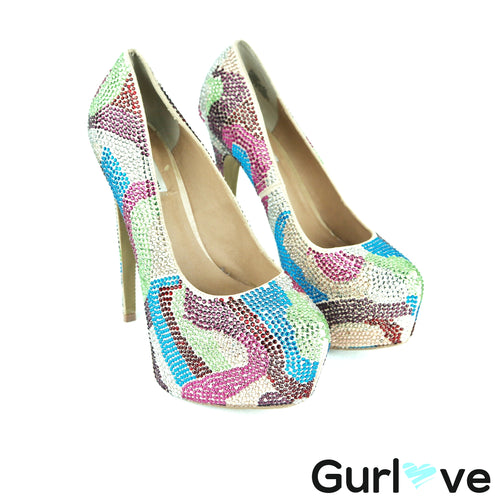 Steven Madden Multicolored Dyvinal Rhinestone Platform Pumps Size 8.5
