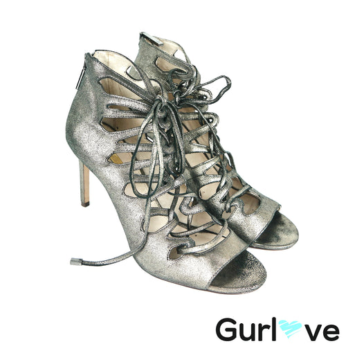 Louise et Cie Metallic Caged Laced Up Kacy Heels Size 10