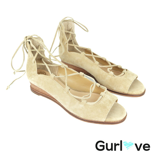 Vince Camuto Rochel Suede Laced Up Open Toe Sandals Size 7.5