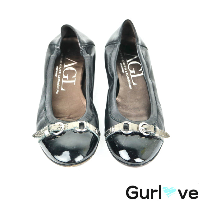 AGL Black Ballet Flats Belted Patent Cap Toe Size 7.5