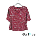 VICI Maroon Animal Print V Neck Bell Sleeves Blouse Size S