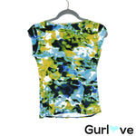 Premise Multicolor Watercolored Cowl Neck Short Sleeve Top Size S