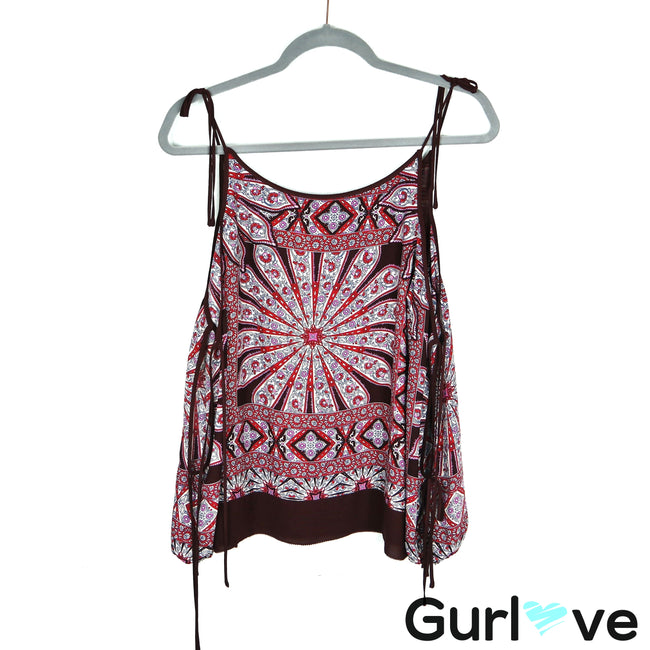 Ella Moss Maroon Gypsy Mosaic Cold Shoulder Top Size S