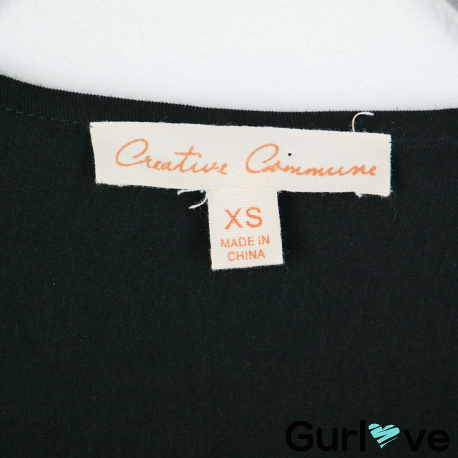 Creative Commune Stitch Fix Black V Neck Blouse Size XS