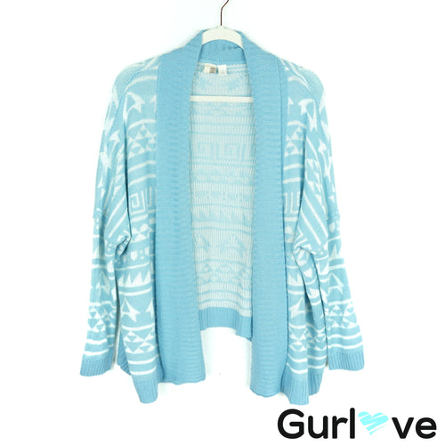 Bird Cage Blue Geometric Print Knit Cardigan Size S