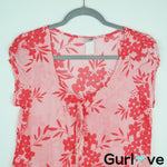 Ixia ModCloth Coral Floral Short Sleeve Blouse Size S