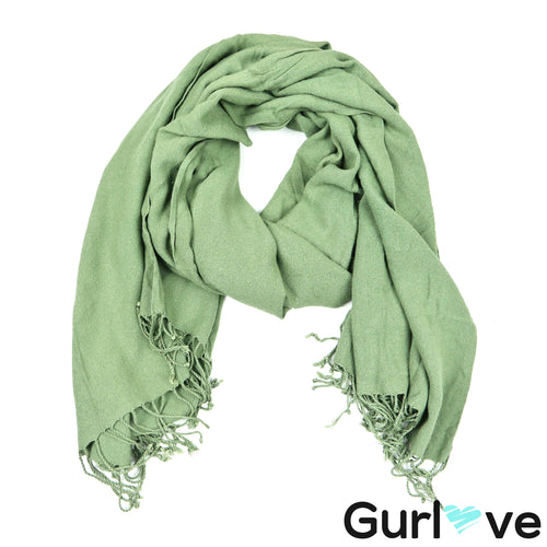 Umbranded Green Fringes Scarf