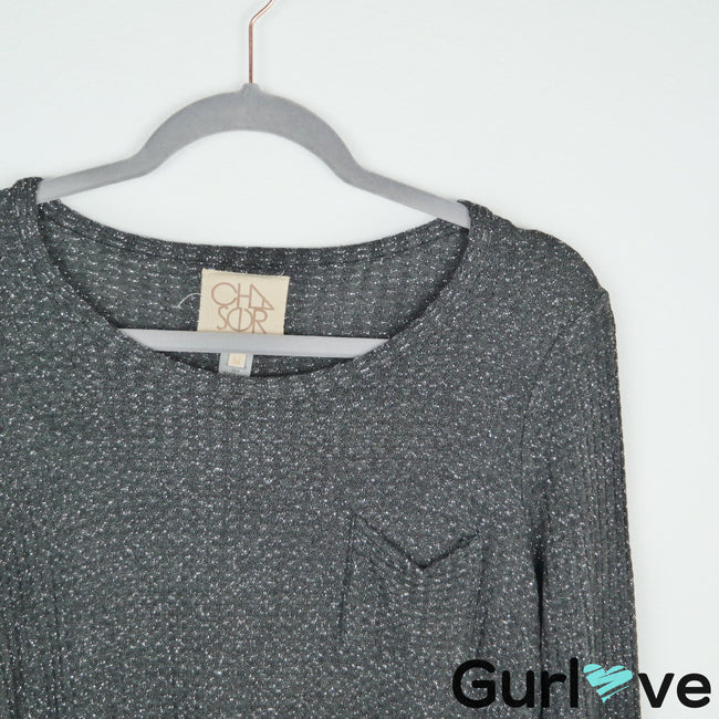 Chaser Gray Metallic Silver Knit Thermal Front Pocket Size M