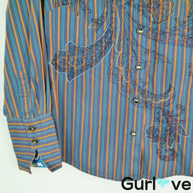 Robert Graham Striped Embroider Button Down Size S