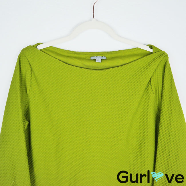 COS Green Textured Boat Neck Long Sleeve Top Size M