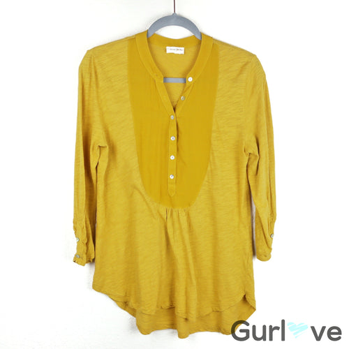 Meadows Rue Slubby Ruched Henley Yellow Mustard Half Button Blouse Size S