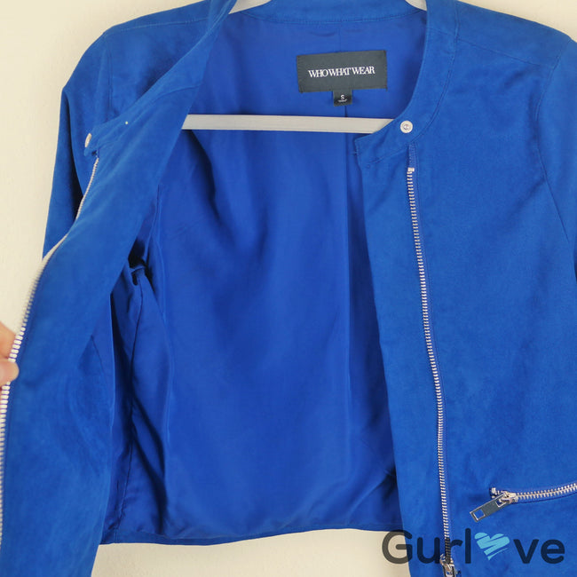 Who Wear What Blue Moto Jacket Size S