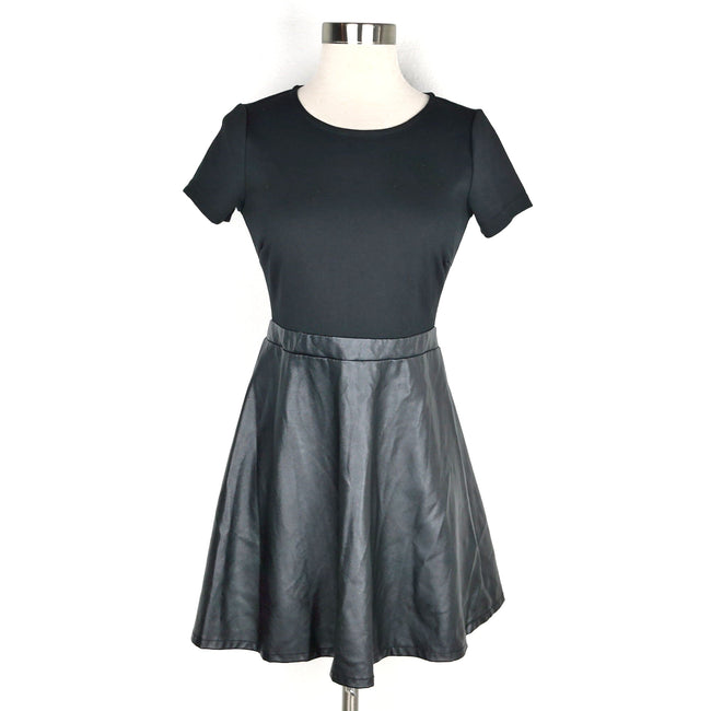 SALE Forever 21 Black Faux Leather Dress Size S