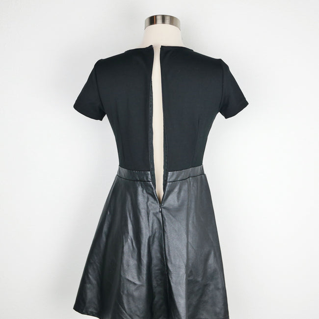 Forever 21 Black Faux Leather Dress Size S