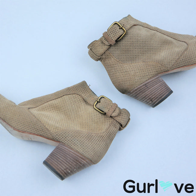 Aquatalia 6 Tan Laser Cut Buckle Suede Booties