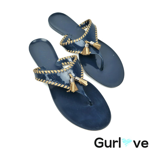 Jack Rogers 11 Blue Gold Jelly Sandals