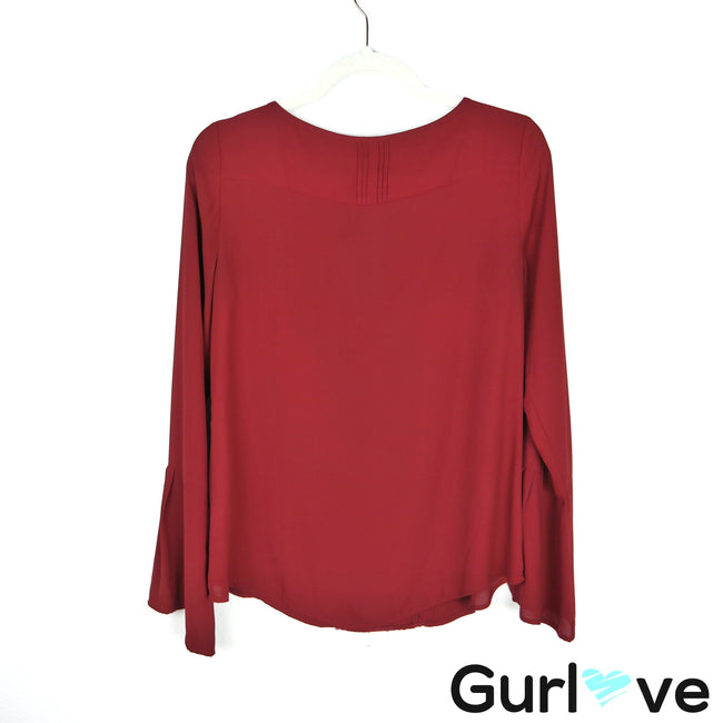 WHBM Maroon Bell Sleeve Blouse Size 6