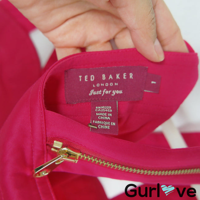 Ted Baker Hot Pink Zipper Crossback Scuba Dress Size 4