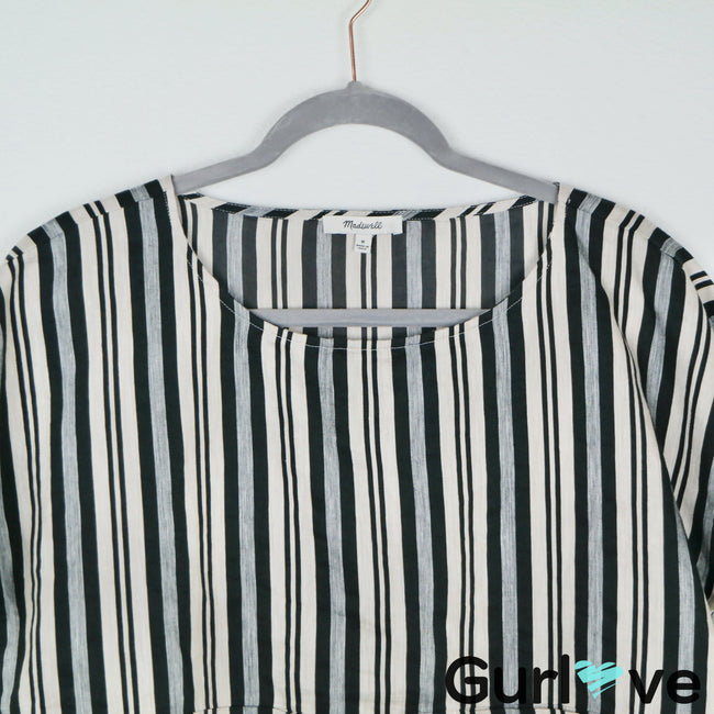 Madewell Evelyn Striped Linen Boxy Top Size M