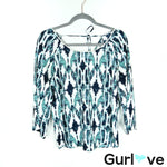 Charming Charlie Blue Printed Crochet Trim Blouse Size S