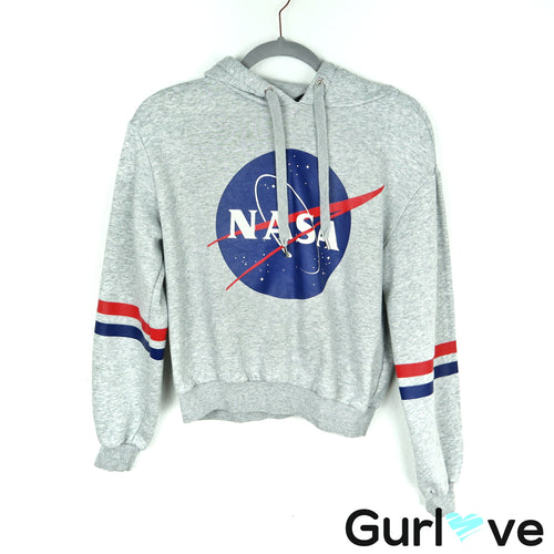 H&M Gray NASA Space Hooded Sweater Size S