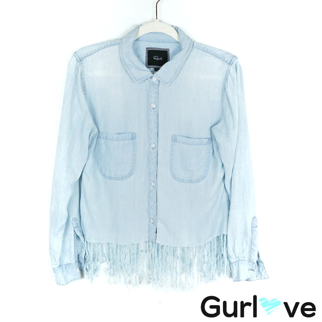 Rails Blue Chambray Fringes Button Shirt Size S
