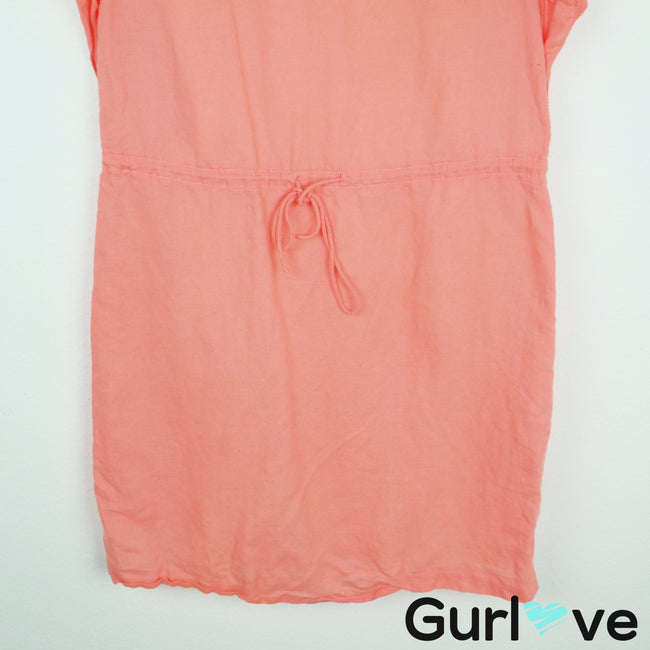 J. Crew Factory Coral Linen Ruffle Dress Size XS