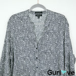 Foxcroft Black White Wrinkle Free Shaped Fit Button Shirt Size 22W