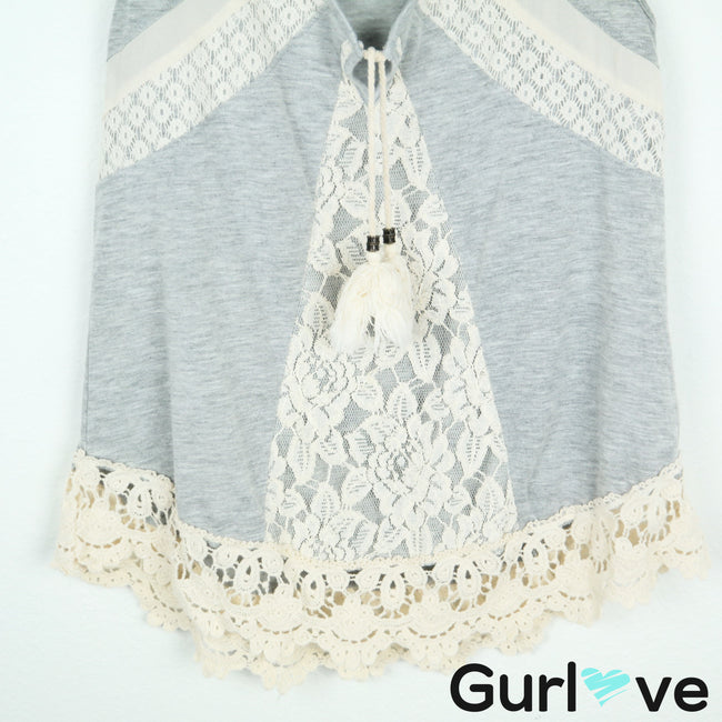 Altar'd State Gray Laced Tassel Sleeveless Top Size S