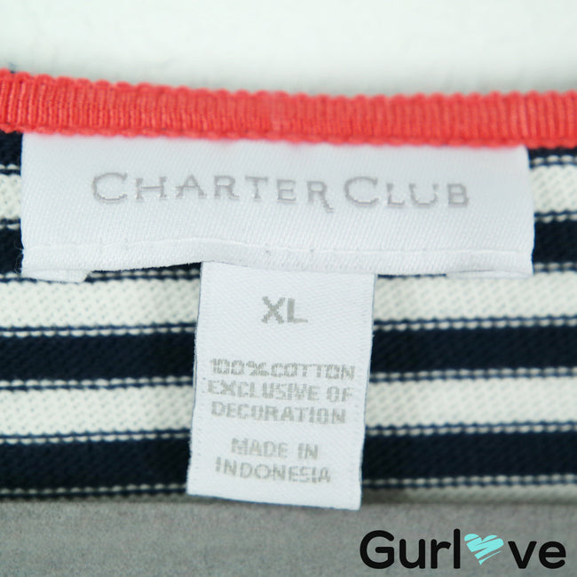 Charter Club White Blue Striped Bon Voyage Stretch Blouse Size XL
