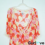 Diane Von Furstenberg Orange Crochet Tunic Cover Up Size M