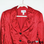 Joseph Ribkoff Red Wrinkle Button Jacket Size 16