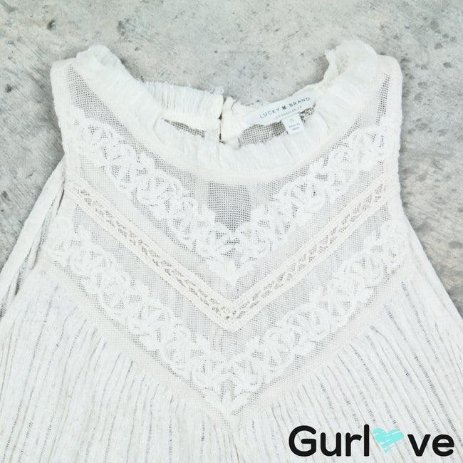 Lucky Brand Ivory Laced Sleeveless Top Size  S